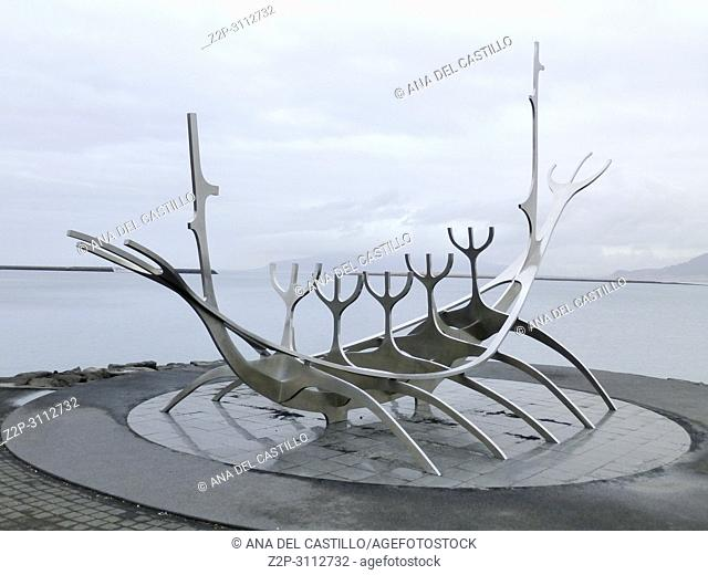 Solfar monument in Reijkiavik capital of Iceland on March 19, 2018