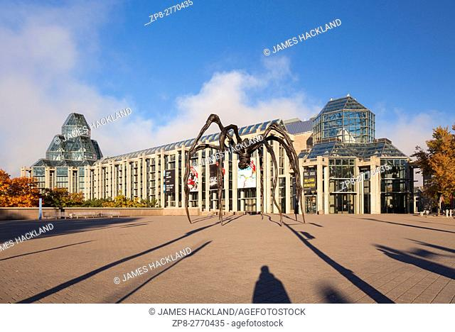 The National Gallery of Canada and the Maman (sculpture) in Ottawa, Ontario, Canada