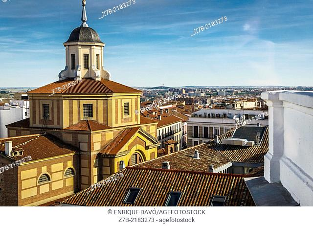 Aerial view in perspective from a roof of a part of Madrid city, Spain