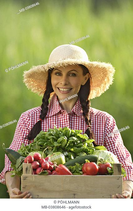 Woman, young, straw hat, smiling,  Wood crate, vegetable selection, holding,  Portrait Series, women portrait, 30-40 years, gaze camera happy, long-haired