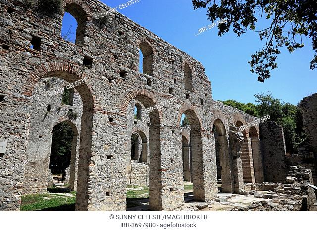Early Christian-Byzantine basilica in the ruins of the ancient city of Butrint, UNESCO World Cultural Heritage Site, Butrint, near Saranda, Vlorë County