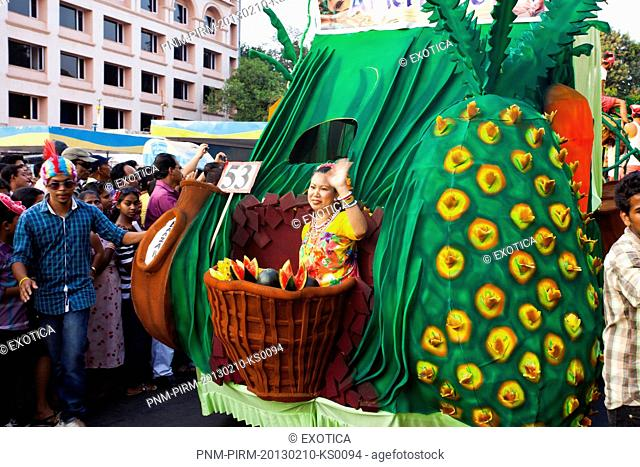 People at traditional procession in a carnival, Goa Carnivals, Goa, India