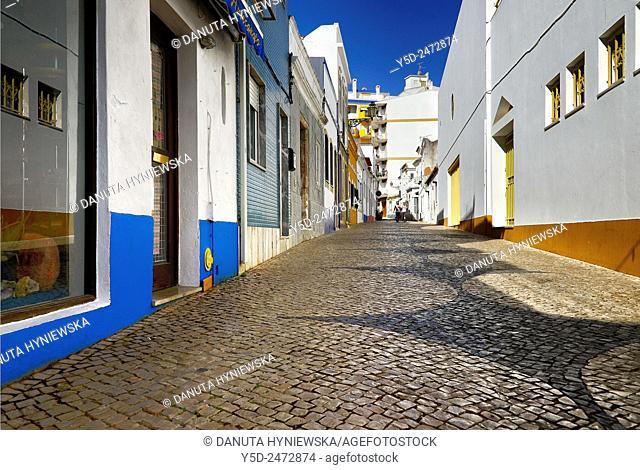 Europe, Portugal, Southern Portugal , Algarve region , Faro district , Lagos , old town scenery, Rua de Sao Goncalo de Lagos - patron of Lagos