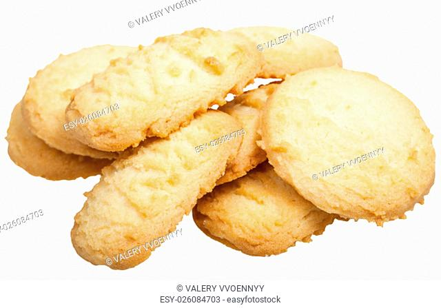 several sweet Shortbread cookie isolated on white background