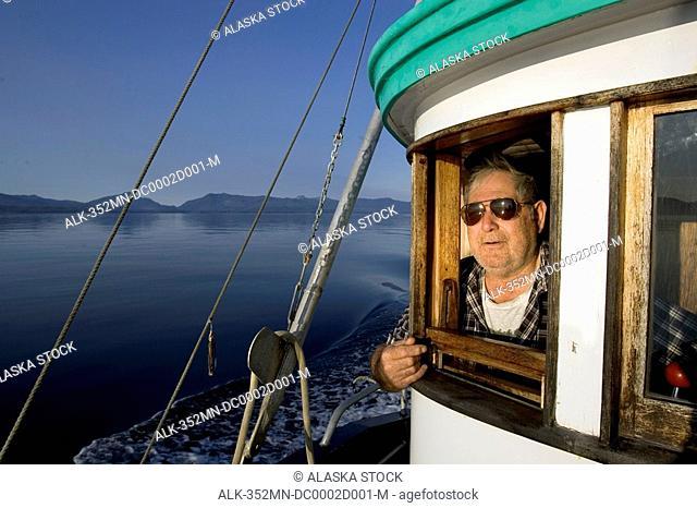 Tlingit Indian Owner @ Helm of Salmon Troller SE AK Summer Sumner Strait Prince of Wales Is