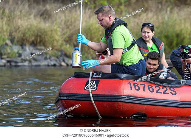 Collecting of samples of water from Labe River which Greenpeace will test on presence of micro plastic particles in British Exeter, took place in Usti nad Labem