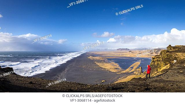 Solheimfjara beach from Dyrholaey viewpoint, southern Iceland