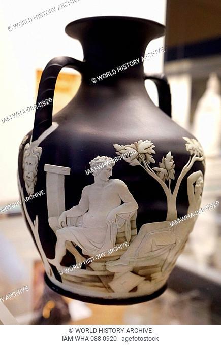 Portland Vase, a Roman cameo glass vase. Dated 1st Century