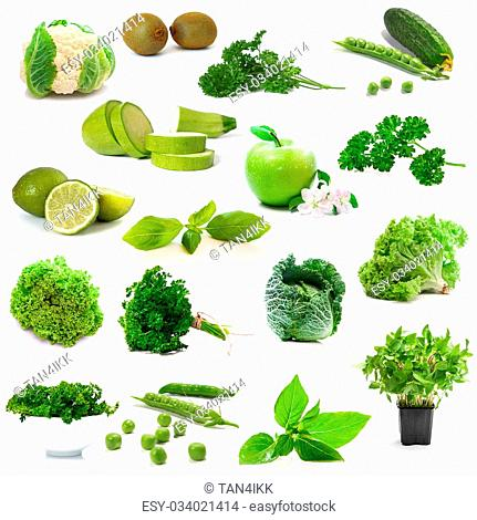 collage green vegetables and fruits on white background