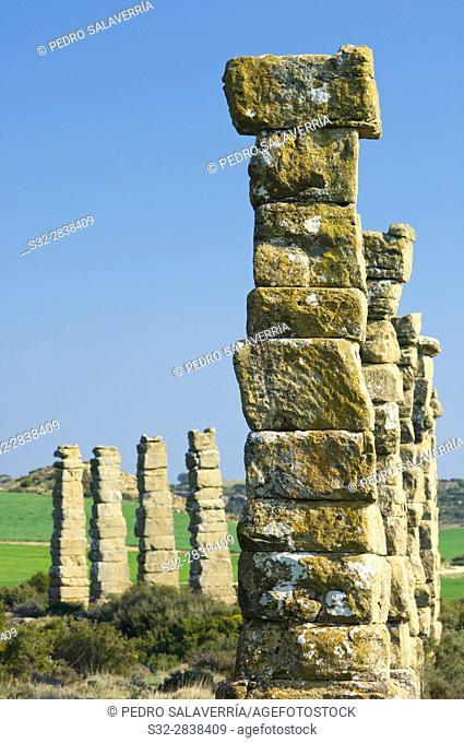 Archaeological remains of a Roman aqueduct, Layana, zaragoza, Aragon, Spain