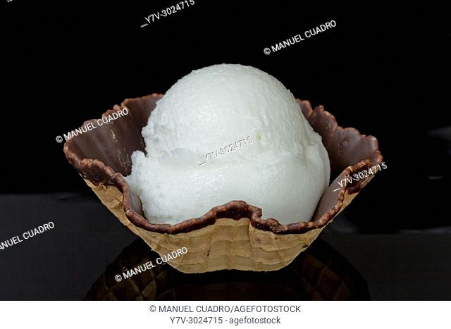 Chocolate tartlet with lemon sorbet ice cream