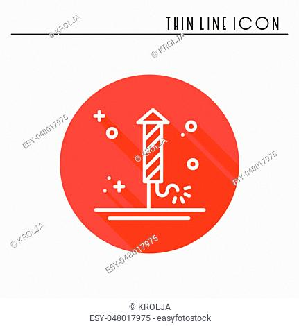 Firework banger firecracker salute icon. Christmas New Year celebration decorated pictogram. Xmas winter thin line element icon