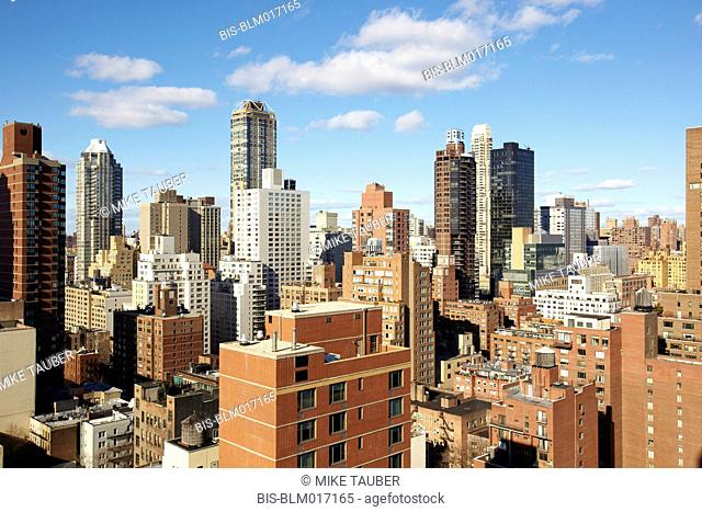 Blue sky and cityscape, New York, New York, United States