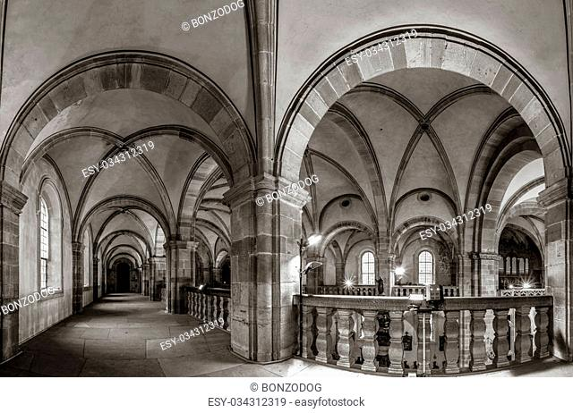 Majestic medieval cathedral interior view, old gothic church in Andlau, France