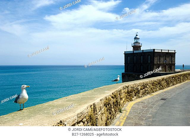Lighthouse and the Torreon del Bonete , Melilla La Vieja citadel  Melilla Spain