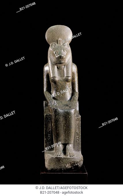 Statue of Sekhmet, a goddess of war and the destroyer of the enemies of the sun god Re in Egyptian religion. Egyptian Museum. Egypt