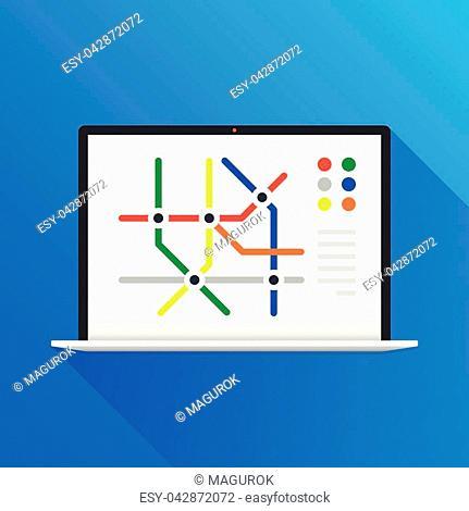 Subway map on laptop screen. Metro navigation, public transportation, navigator, route concepts. Modern flat design. Vector illustration