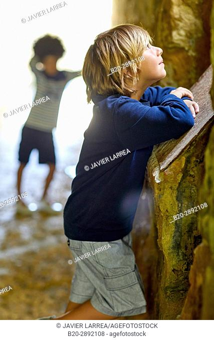 Children, Mollarri Interpretation Center, Marine clothing, Zarautz, Gipuzkoa, Basque Country, Spain, Europe
