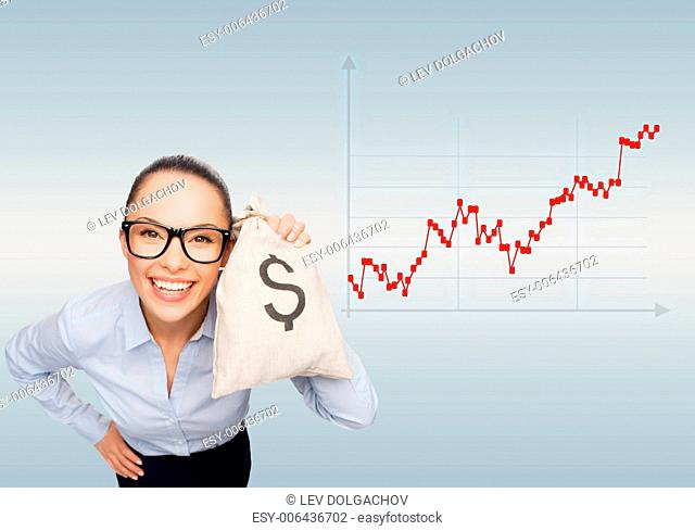 business, money and people concept - smiling businesswoman in eyeglasses holding money bag with dollar over gray background and forex graph