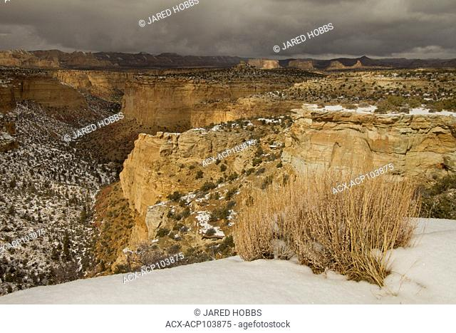 Snowy landscape at Ghost Rock Canyon, Utah, USA