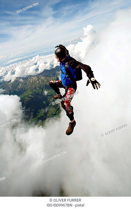 Skydiver over Saanen, Switzerland