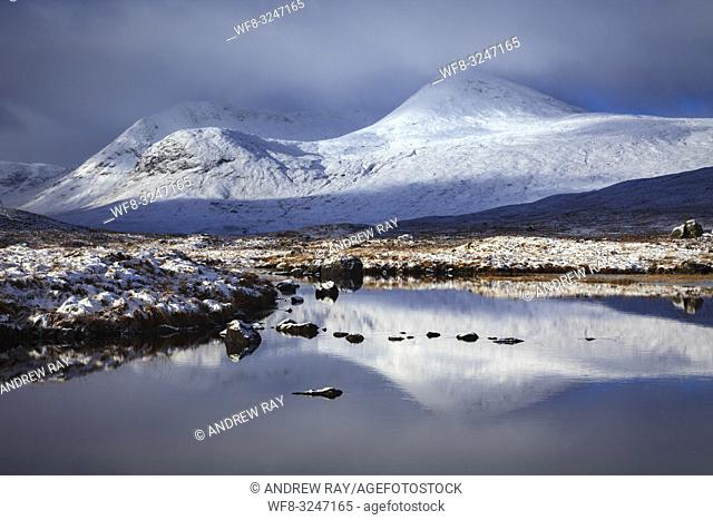 Snow covered peaks reflected in the River Ba' on the southern edge of Rannoch Moor in the Scottish Highlands