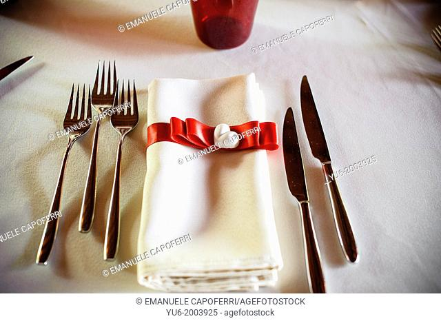 Cutlery and napkin noodle and ceramic heart