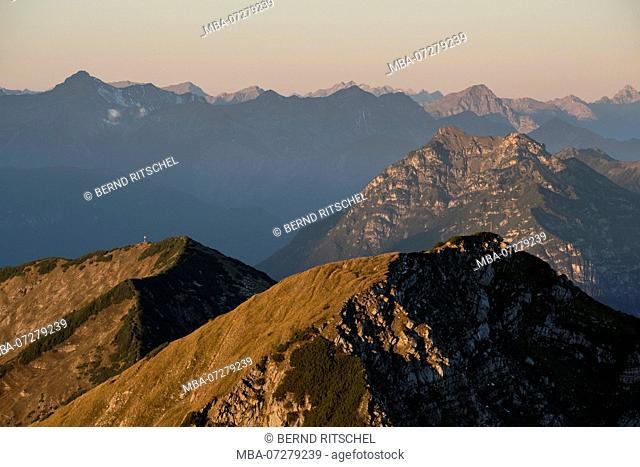 Bischoff (mountain peak) in the Estergebirge, background Kramer, close Garmisch, Bavarian Alps, Upper Bavaria, Bavaria, Germany