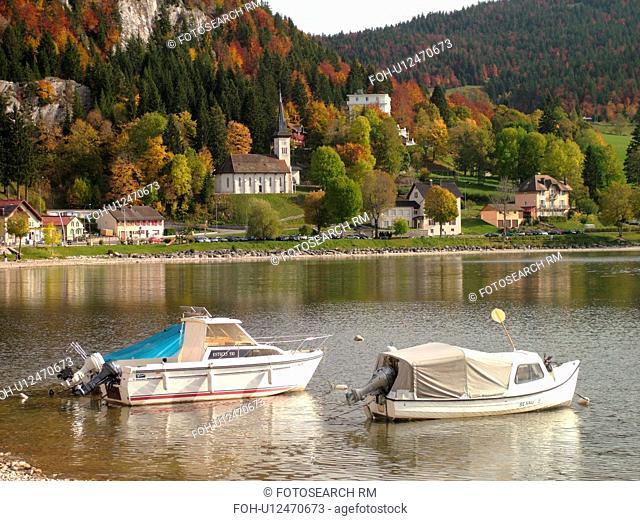 Switzerland, Europe, Vaud, Jura, Le Pont, Vallee de Joux, Lac De Joux, boats