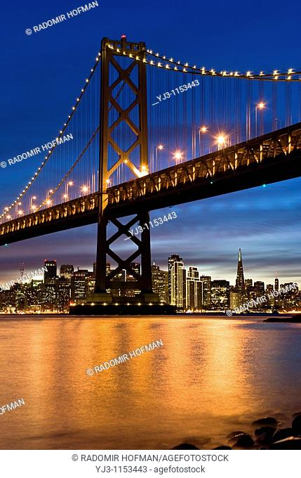 Bay Bridge and San Francisco at night, California, USA