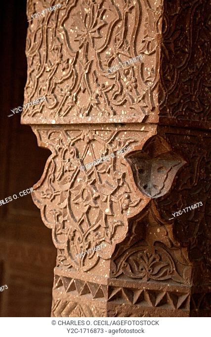 Fatehpur Sikri, Uttar Pradesh, India  Decorative Carvings in Stone Pillars of the Diwan-i-Khas Hall of Private Audience