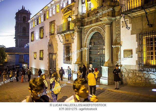 Main Facade of Casa de la Moneda, in background Torre de la Compañia de Jesus, Potosi, Bolivia