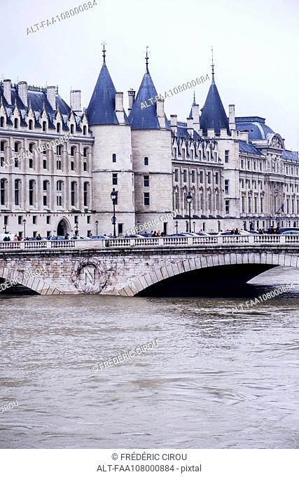 France, Paris, the Seine River at Pont au Change during a period of flooding