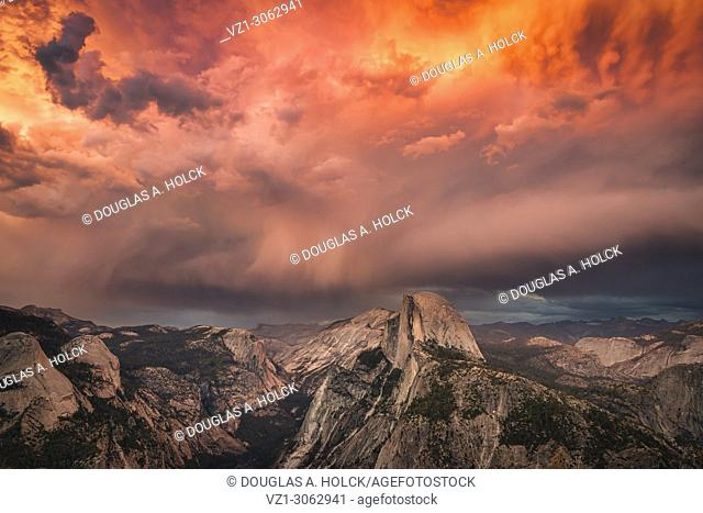 Fiery Yosemite Summer Storm Over Half Dome at Sunset