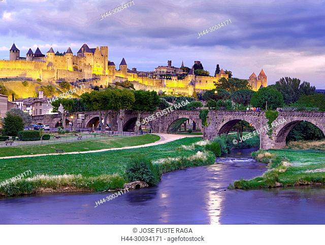 France, Aude region, Carcassonne city, la cite, medieval fortress, W.H., sunset, skyline