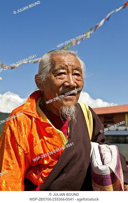 Old Tibetan refugee of Tashiling refugee camp, Pokhara,Nepal