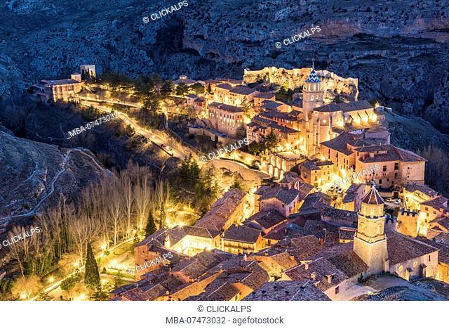 Albarracin town at dusk. Albarracin, Teruel, Aragon, Spain, Europe