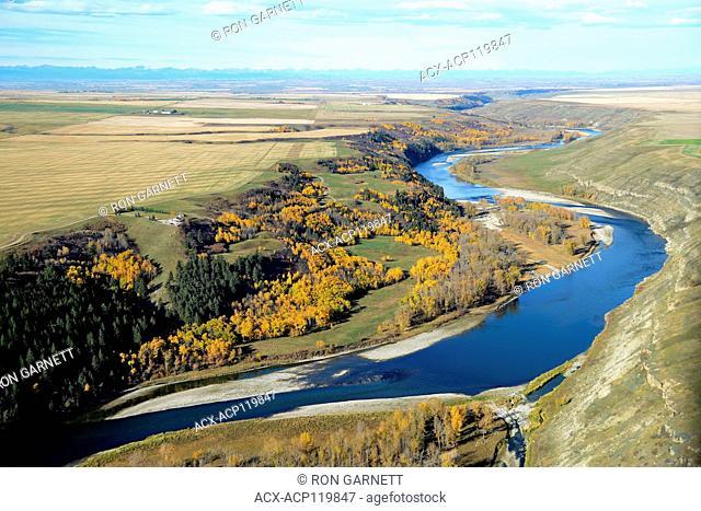 aerial, Bow River Carsland, Alberta