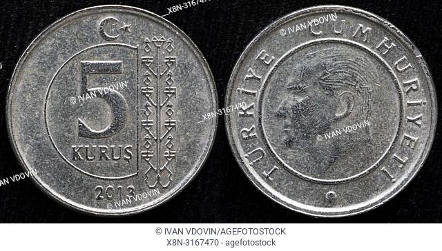 5 kurus coin, Turkey, 2013