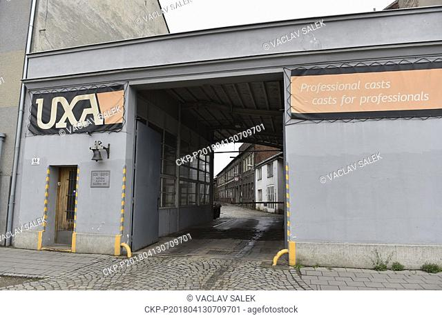 The main gate of the production plant of the UXA foundry is seen in Brno, Czech Republic, on April 13, 2018. (CTK Photo/Vaclav Salek)