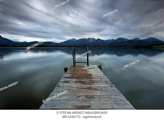 Evening mood at Lake Hopfensee in Allgaeu near Fuessen, Bavaria, Germany, Europe, PublicGround