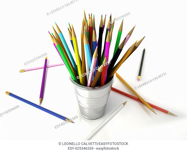Several Multicolored pencils into a metallic jar, with some on the white floor. on WHite background