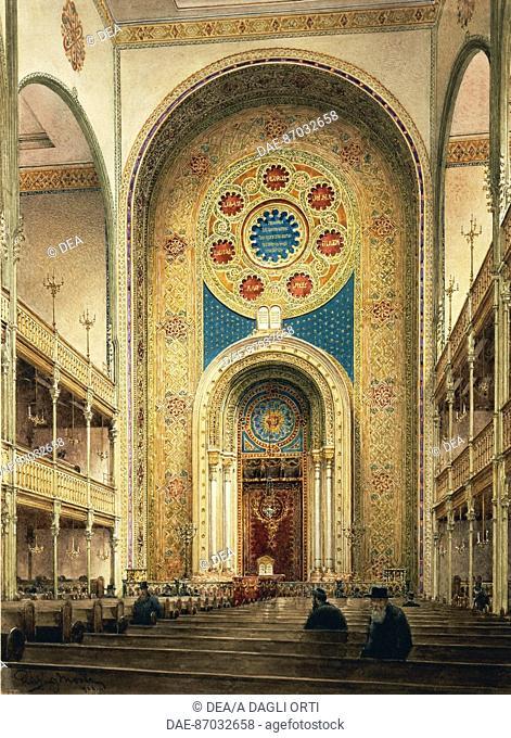 Austria, the twentieth century. Interior of the synagogue in Vienna, 1920. Watercolor R. Moser.  Vienna, Historisches Museum Der Stadt Wien (History Museum)