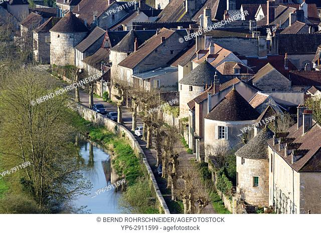 French village Noyers, Yonne, Bourgogne, France