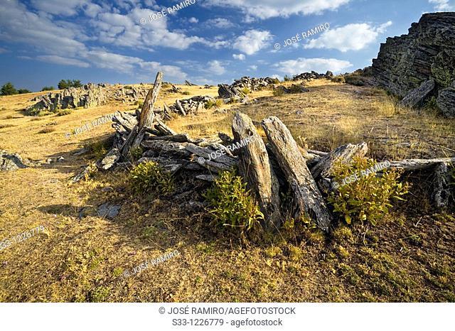 Slates on the Tiesa hill Sierra Norte Madrid Spain