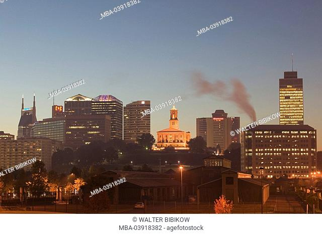 usa, Tennessee, Nashville, city view, Capitol, morning-mood