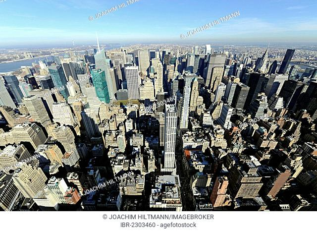 View from the Empire State Building to the north, Midtown Manhattan, New York City, New York, USA, North America