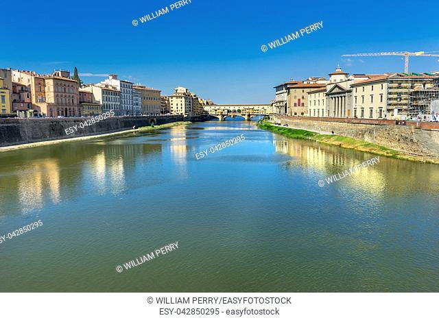 Ponte Vecchio Arno River Florence Tuscany Italy. Built in the 1300s