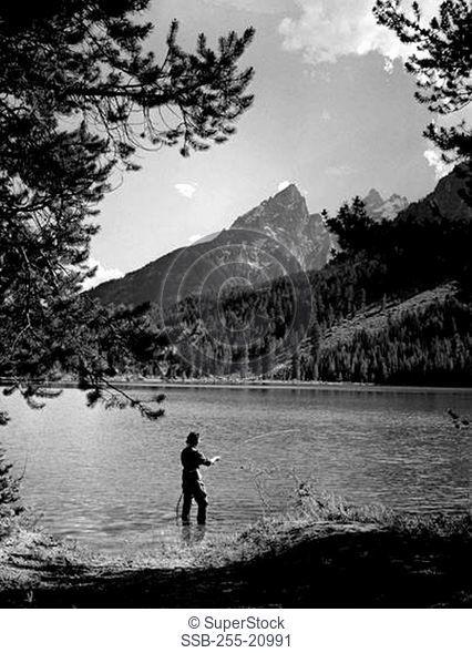 Person fly-fishing at the riverbank, Grand Teton National Park, Wyoming, USA