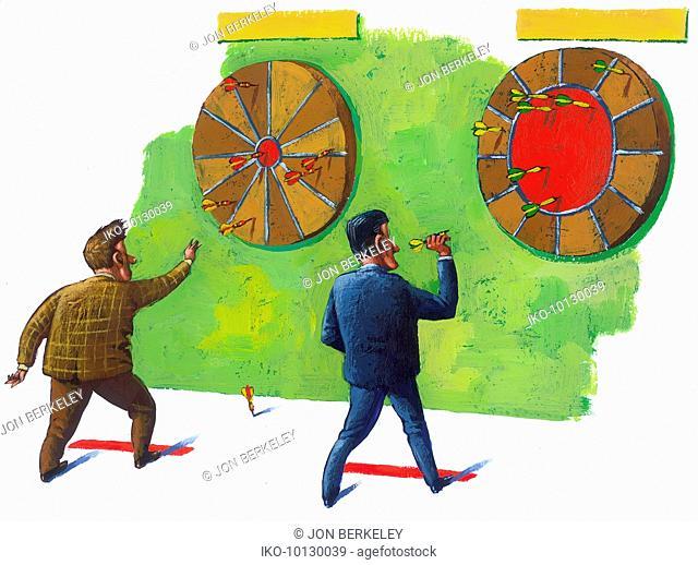 Men throwing darts at dart board